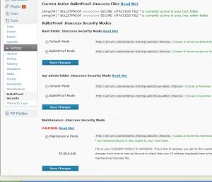 BulletProof Security WordPress Plugin Options Page