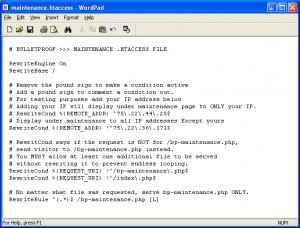 BulletProof Maintenance htaccess WordPress Root Installation