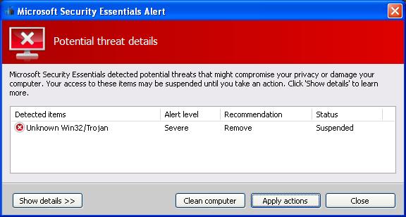 facebook Malware Microsoft Security Essentials Alert