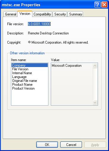 Legitimate MSTSC.exe Microsoft File Properties