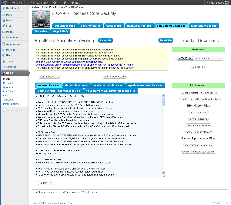 BulletProof Security Pro Screenshots – BPS Pro Screenshots