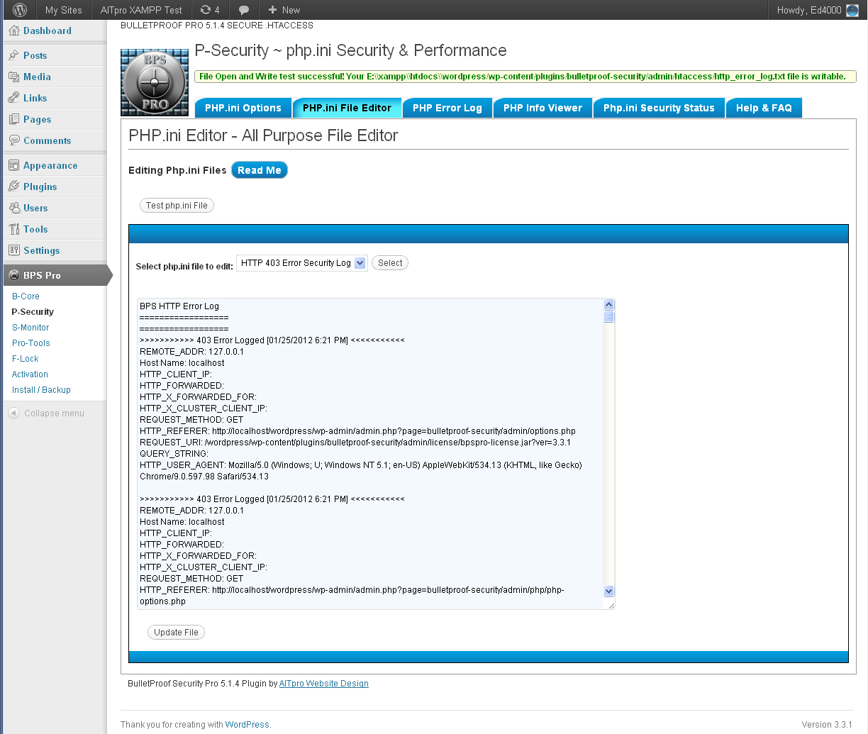 Error Log: BPS Pro Screenshots