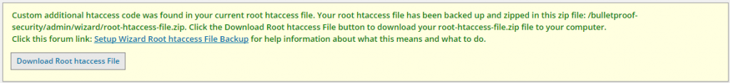 Setup Wizard Root htacces File Backup